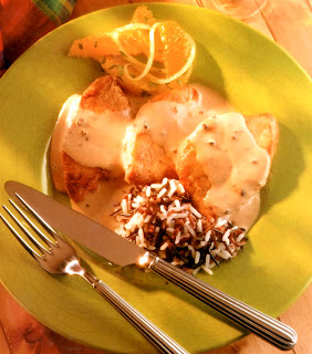 turkey breast slices served in a cream marsala sauce