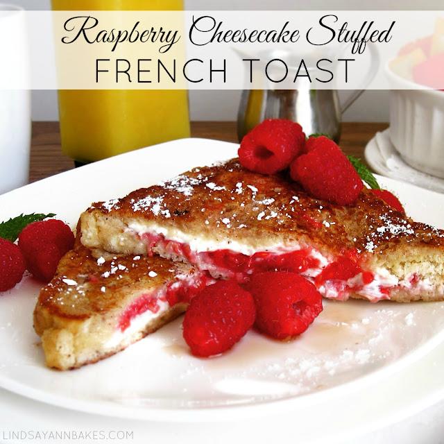 Raspberry Cheesecake Stuffed French Toast - Lindsay Ann Bakes