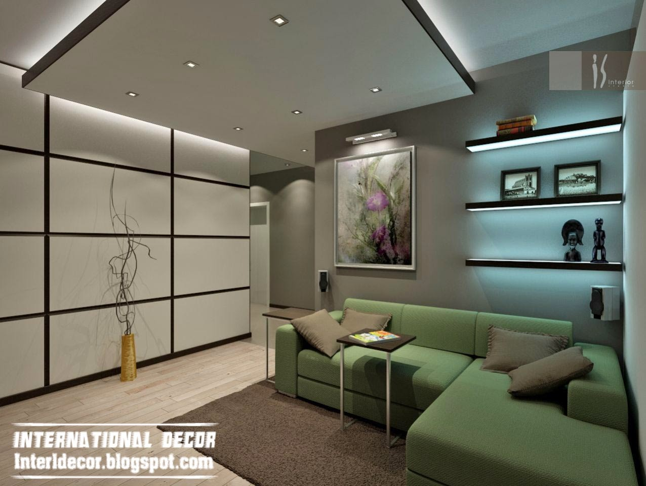 Suspended ceilings pop design for living room 2015 for Living room lighting design
