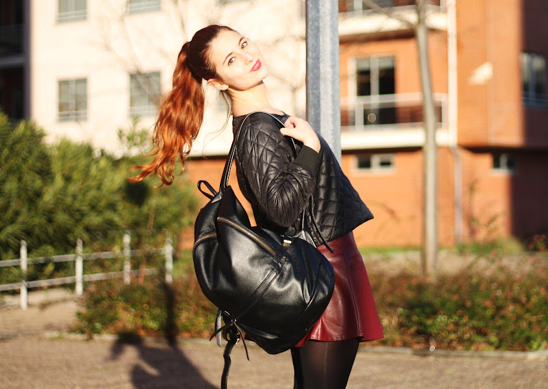 oxblood skirt, quilted sweatshirt, backpack, romwe