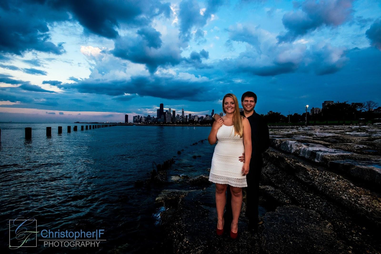 dramatic Chicago Engagement Photo