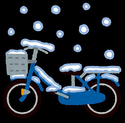 雪の積もる自転車のイラスト