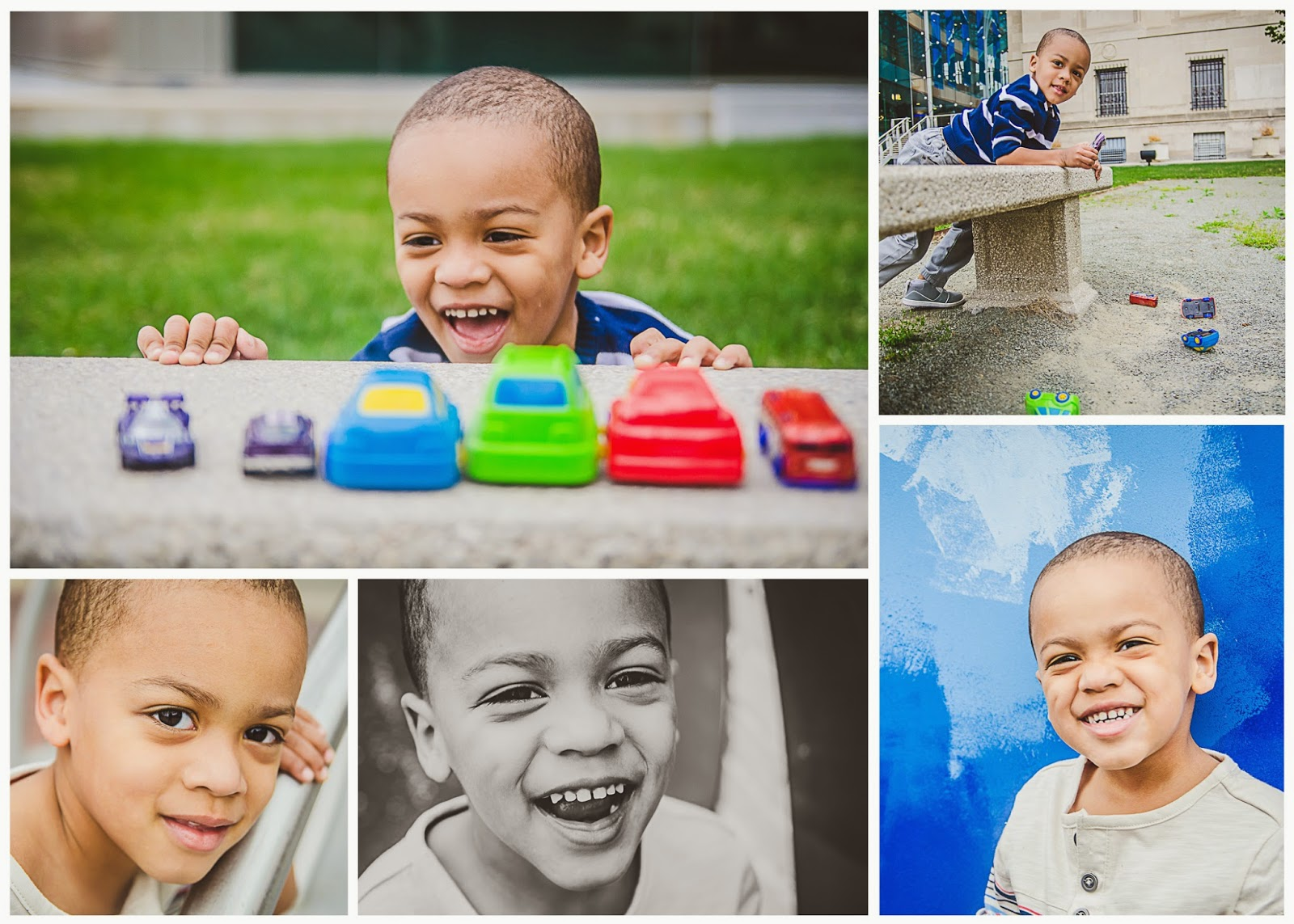 Jordan playing with cars and smiling at his downtown indianapolis photography session by indy child photographer ashlee lauren