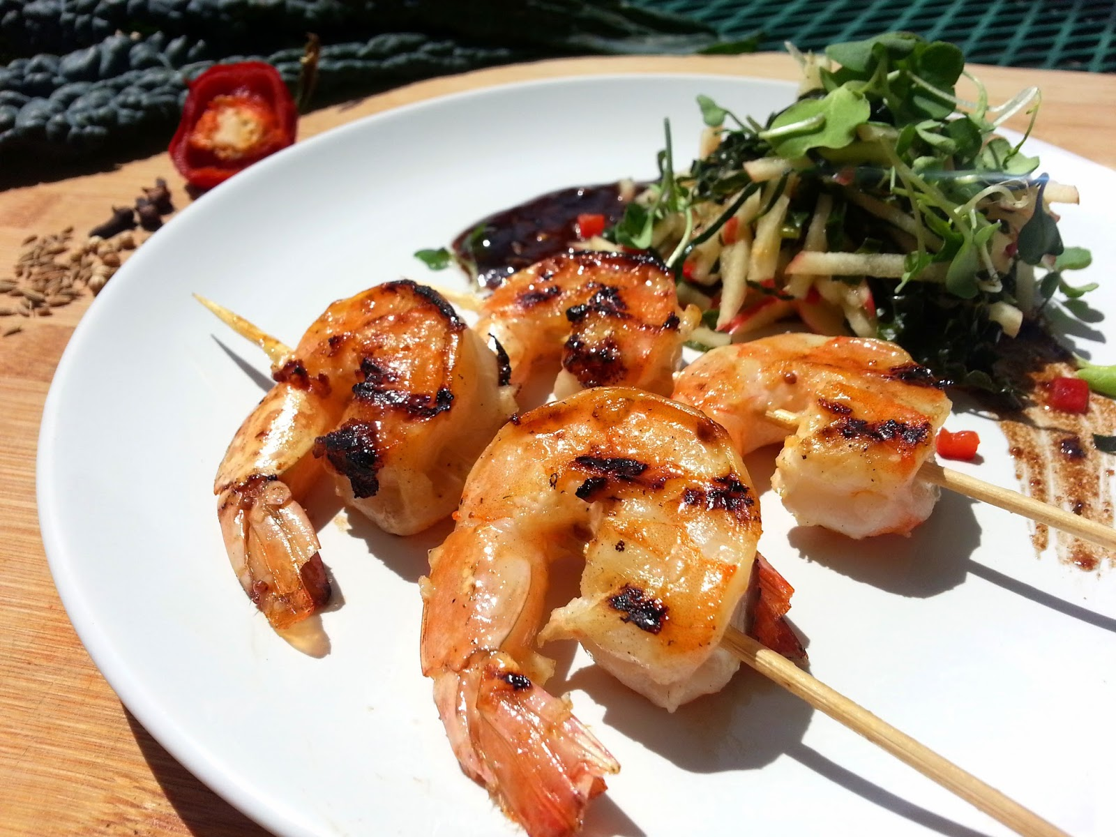 Honey Dijon Grilled Shrimp with Spicy Apple and Kale Salad