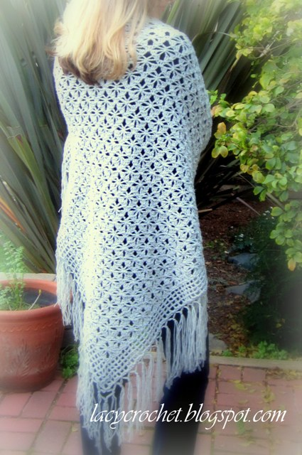 Crochet Shawl Patterns : Lacy Crochet: Spider Stitch Shawl Free Pattern