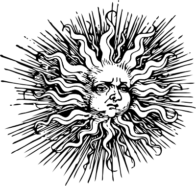 Sun Face Clip Art Black and White