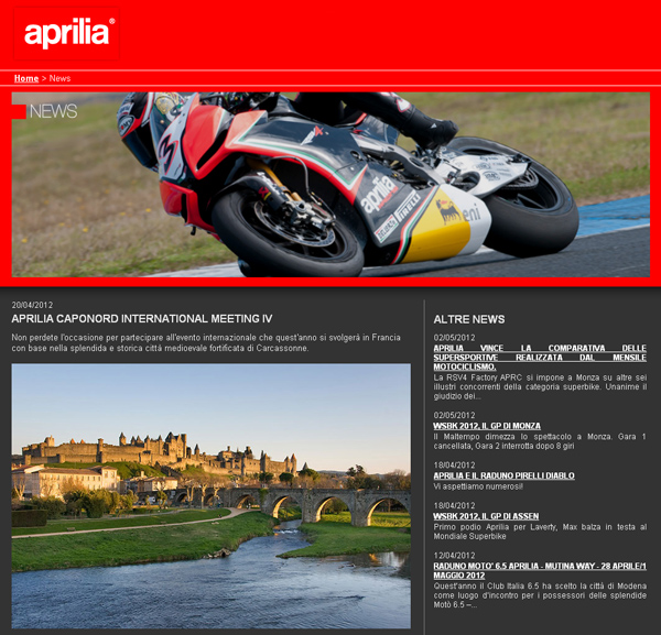 Aprilia Caponord International Meeting '12 on Aprilia's Website