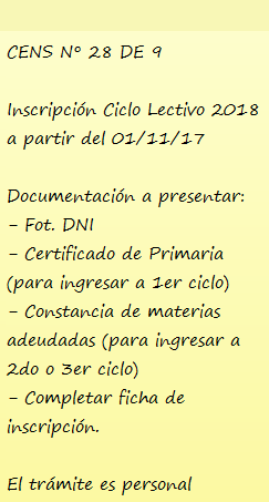 Información - Inscripción - CENS 28