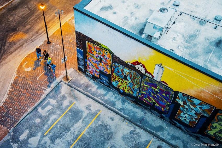 Portland, Maine Graffiti Art Wall on back of Asylum on Free Street photo by Corey Templeton July 2014 Summer