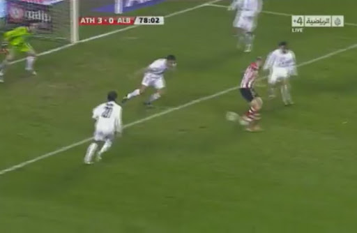 Gaizka Toquero hits an audacious backheel to sore against Albacete