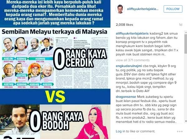 Dilabel 'Orang Kaya Bodoh', Dato' Aliff Syukri Mengamuk Di Instagram…