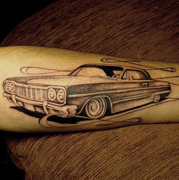 Black White Car Tattoo