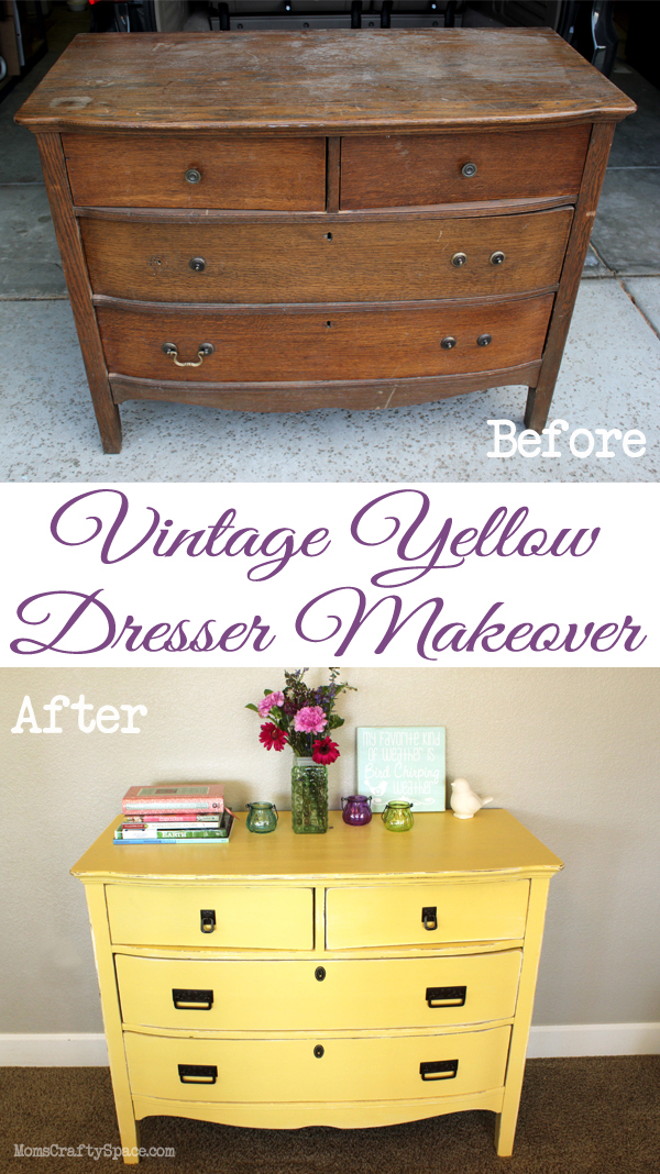 vintage yellow painted dresser refinish makeover at