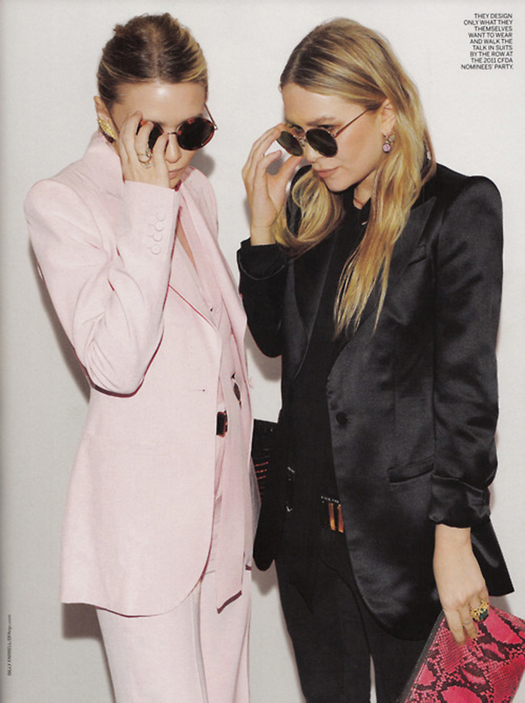 Ashley and Mary Kate Olsen, powder pink suit, black satin suit, style icons, fashion muses