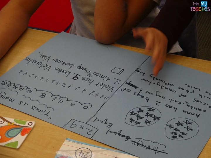 Write a multiplication story for each picture