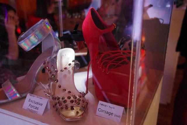 forcas, corsage, red, transparent, studs, nieten, sandals