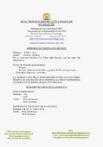 HORARIOS VISITAS GUIADAS AL REAL MONASTERIO DE SANTA MARÍA DE GUADALUPE
