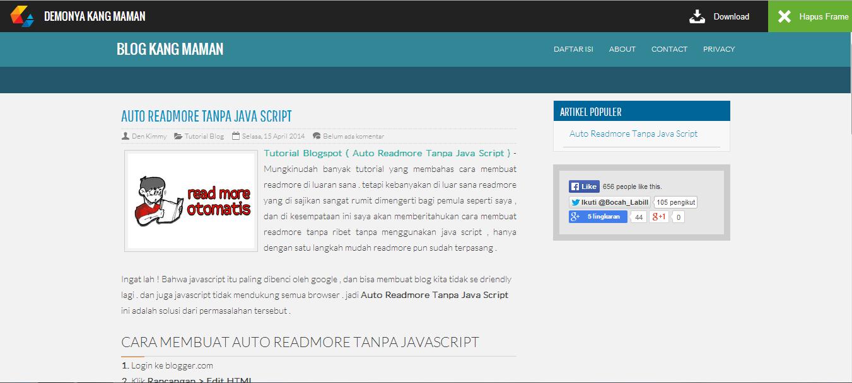 Membuat Halaman Demo Dengan Tollbar Di Blogspot