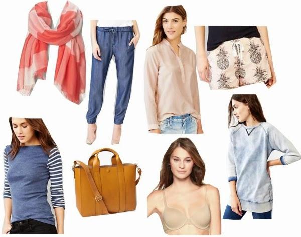 Pineapple Shorts, Tunic Sweatshirt, Chambray, Gingham Scarf, Tote, Natural, Crossbody Bag, Cognac,