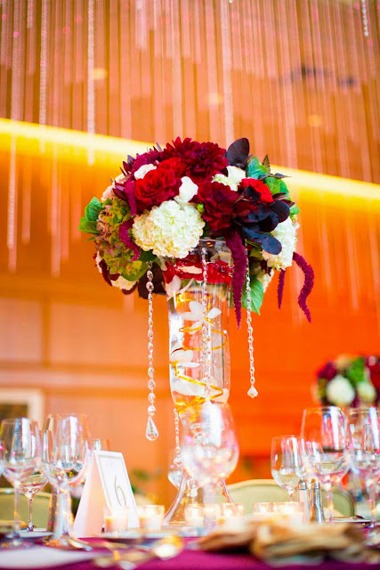 wedding centerpiece in red and white