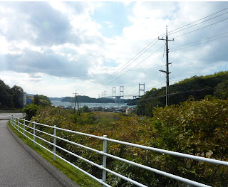 The Kurushima-Kaikyo bridge as seen in the distance from a hill on Oshima on the Shimanami Kaido