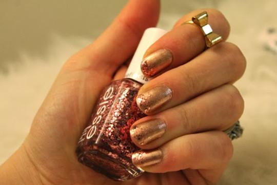 Rose Gold Glitter nails designs for wedding 2016