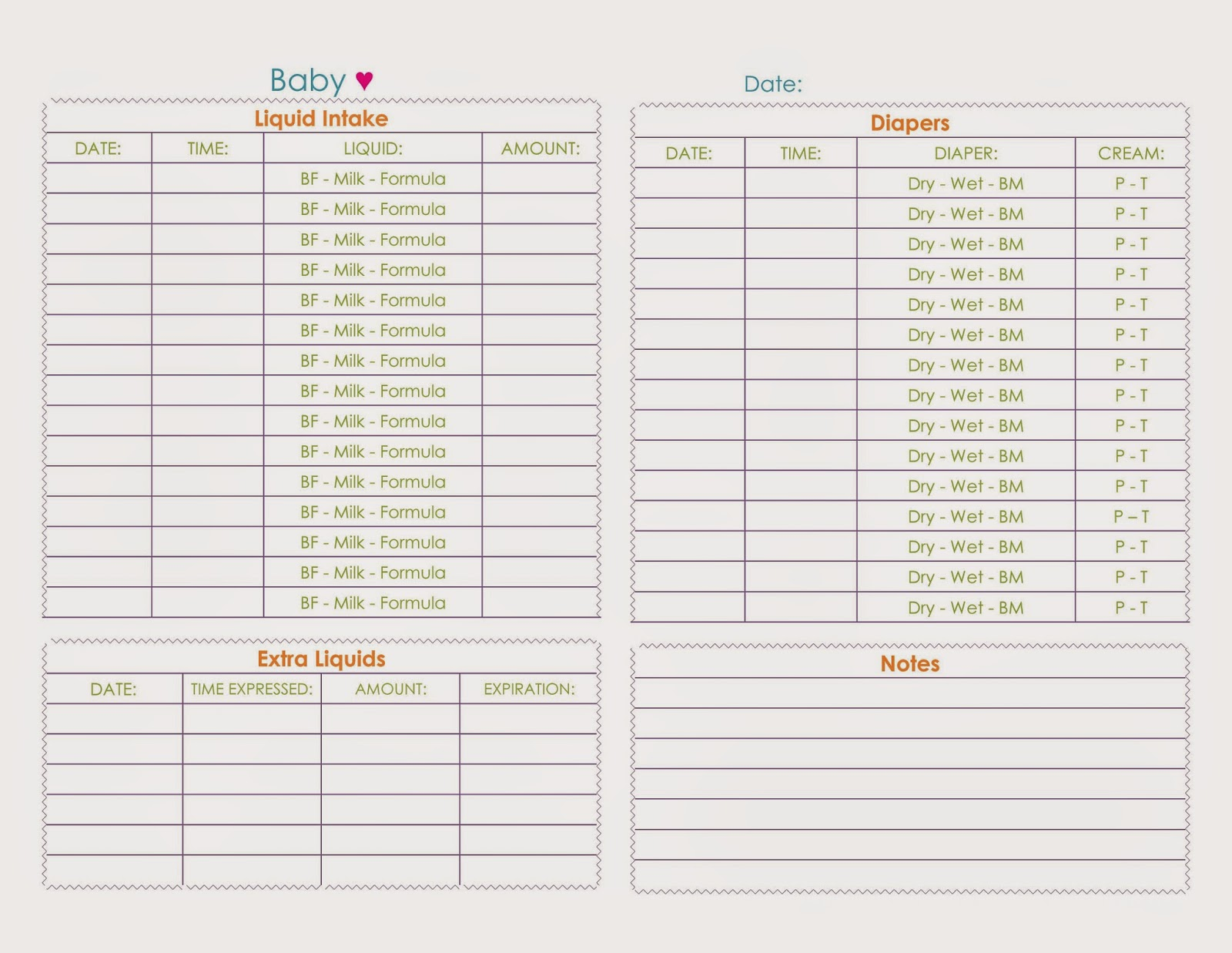 A Little Bit of Everything... : Baby Daily Tracking Sheet