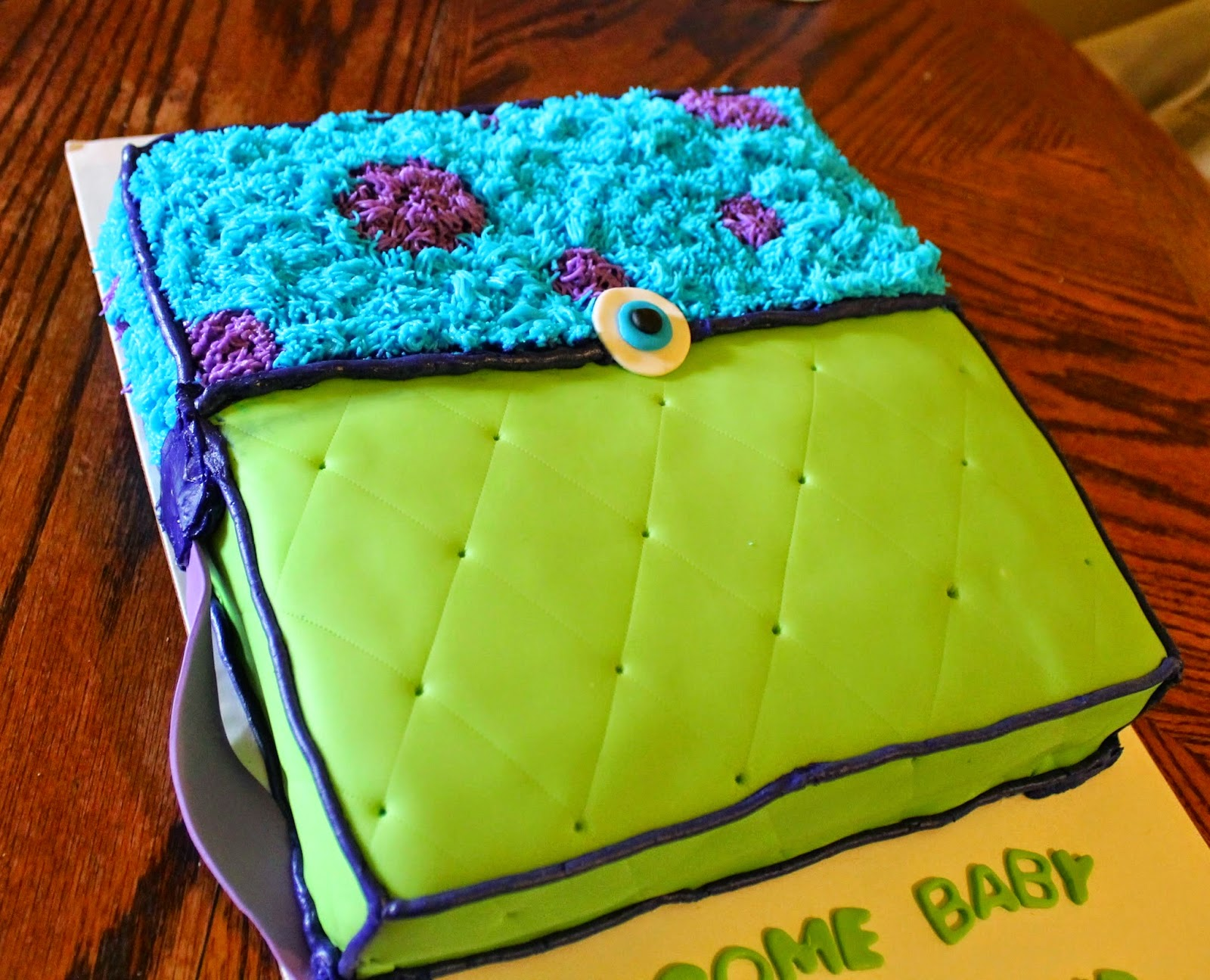 Monsters Inc Diaper Bag Cake With Matching Party Favors And