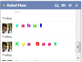Replace your text with colorful text in facebook chatting