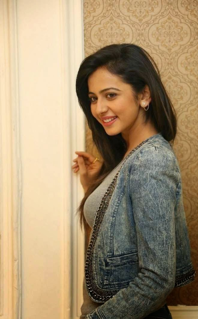 Rakul Preet Singh Half Denim Jacket and Denim Jeans At Rough Movie Success Meet