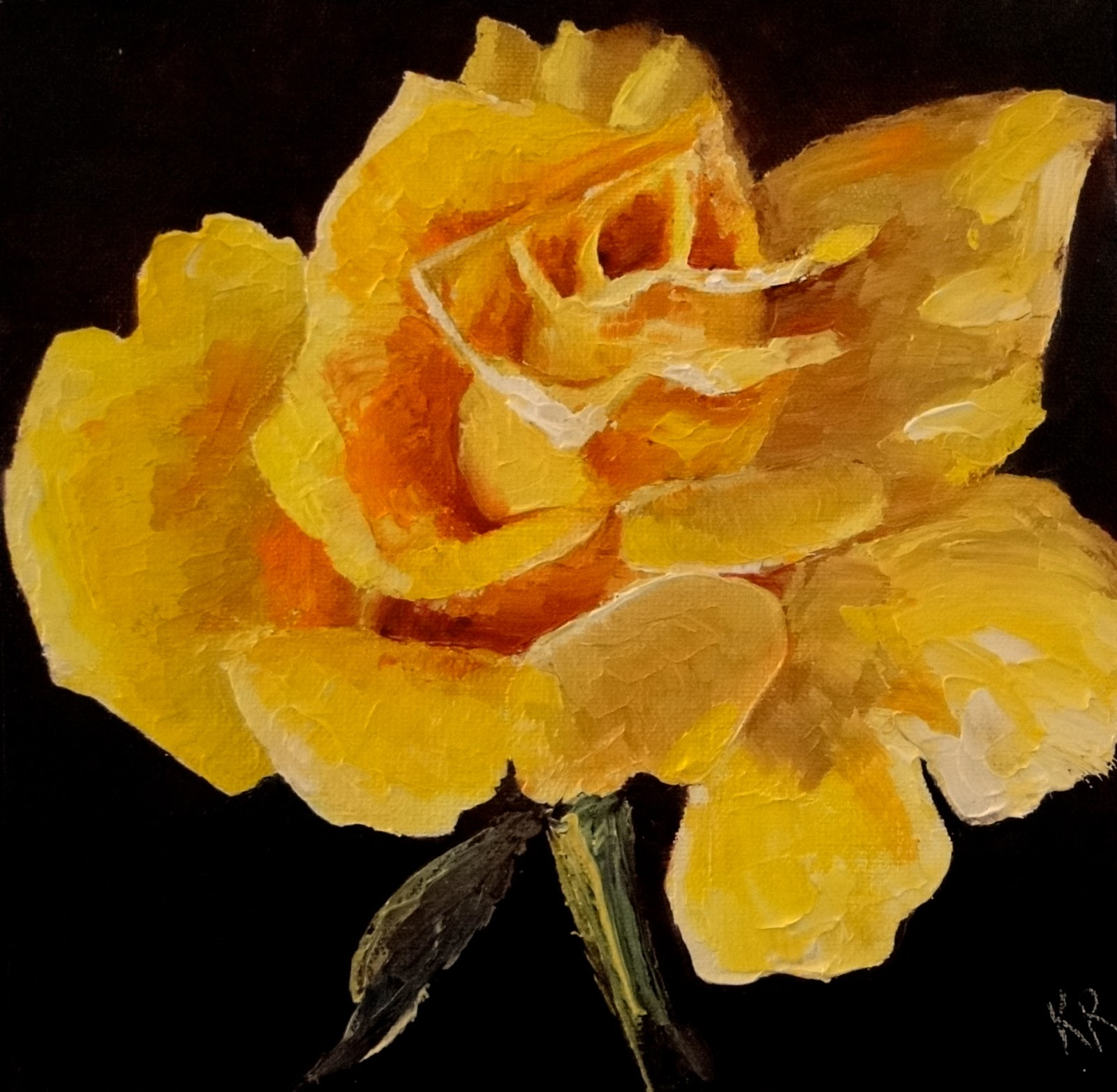 palette knife painting of a yellow rose
