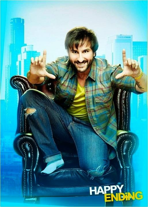 Saif Ali Khan giving pose on chair as writer Yudi in Happy Ending movie still