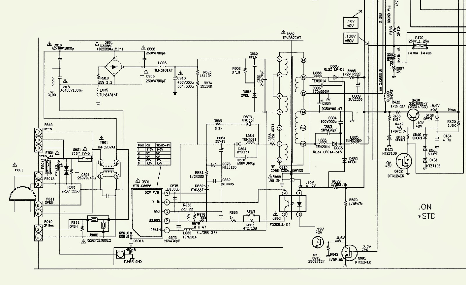 smps schematic - toshiba tv 2987 - using str