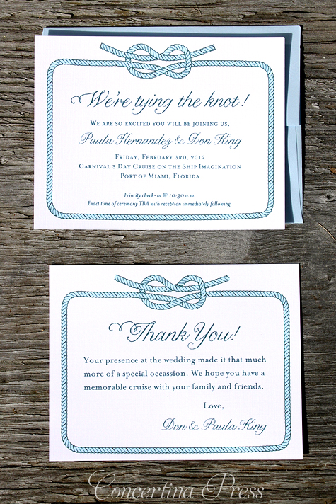 Cruise Ship Wedding Invitation - Tying the Knot - by Concertina Press