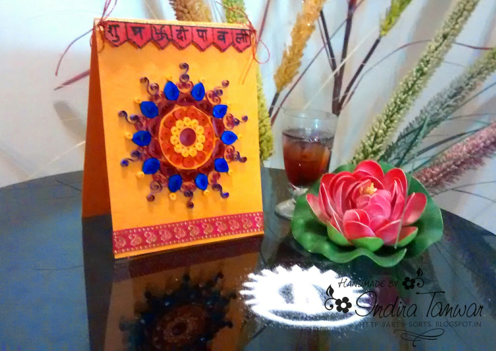 Card Making Ideas In Hindi Part - 48: Instead Of The Regular Sentiment, I Decided To Do Something In The Form Of  Toran (decorative Door Hanging). I Have Written The Greeting In Hindi And  Secured ...
