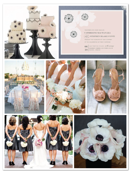 pink gray anemone flower wedding inspiration board