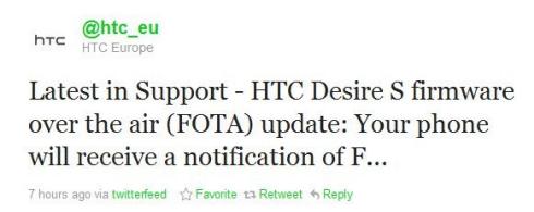 HTC Europe Announces HTC Desire S Upgrade VIA FOTA