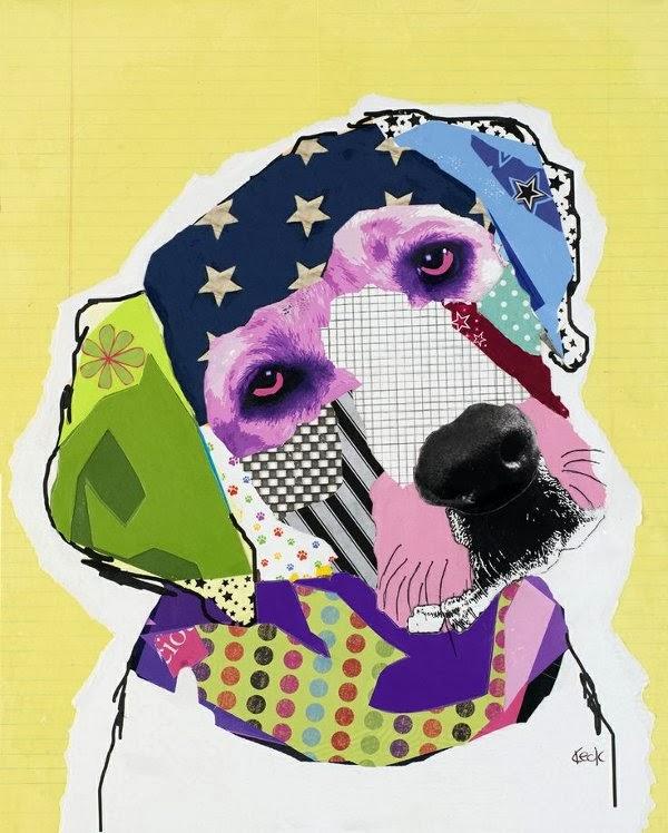 Art et glam: Michel Keck : l\'art du collage et des chiens