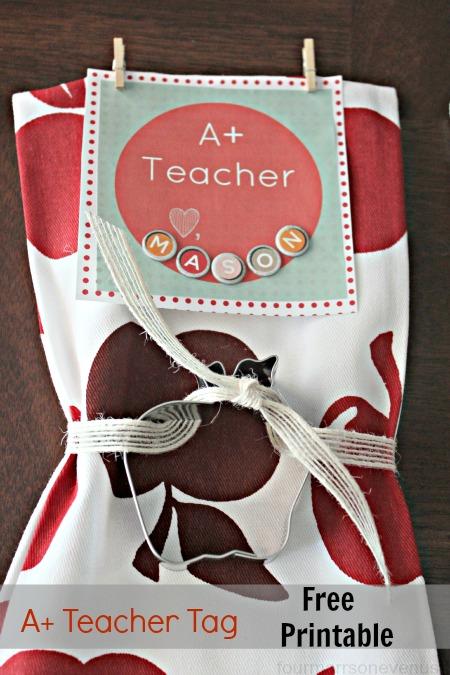 Teacher Gift: A+ Teacher tag {free printable} #printable #teachergift