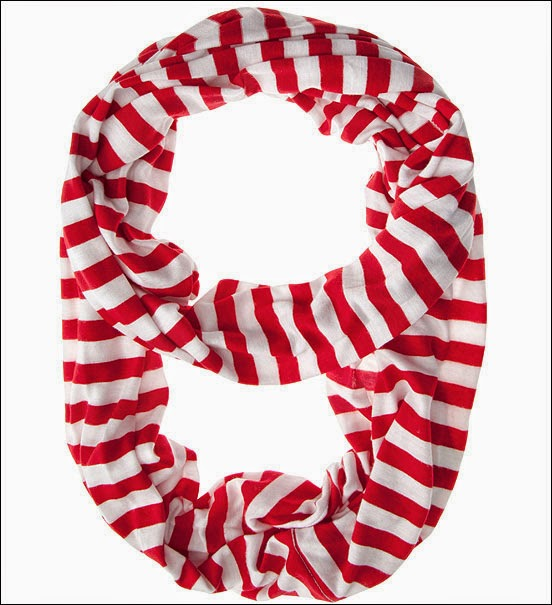 Christmas Costumes - Candy Cane Striped Red & White Infinity Scarf.
