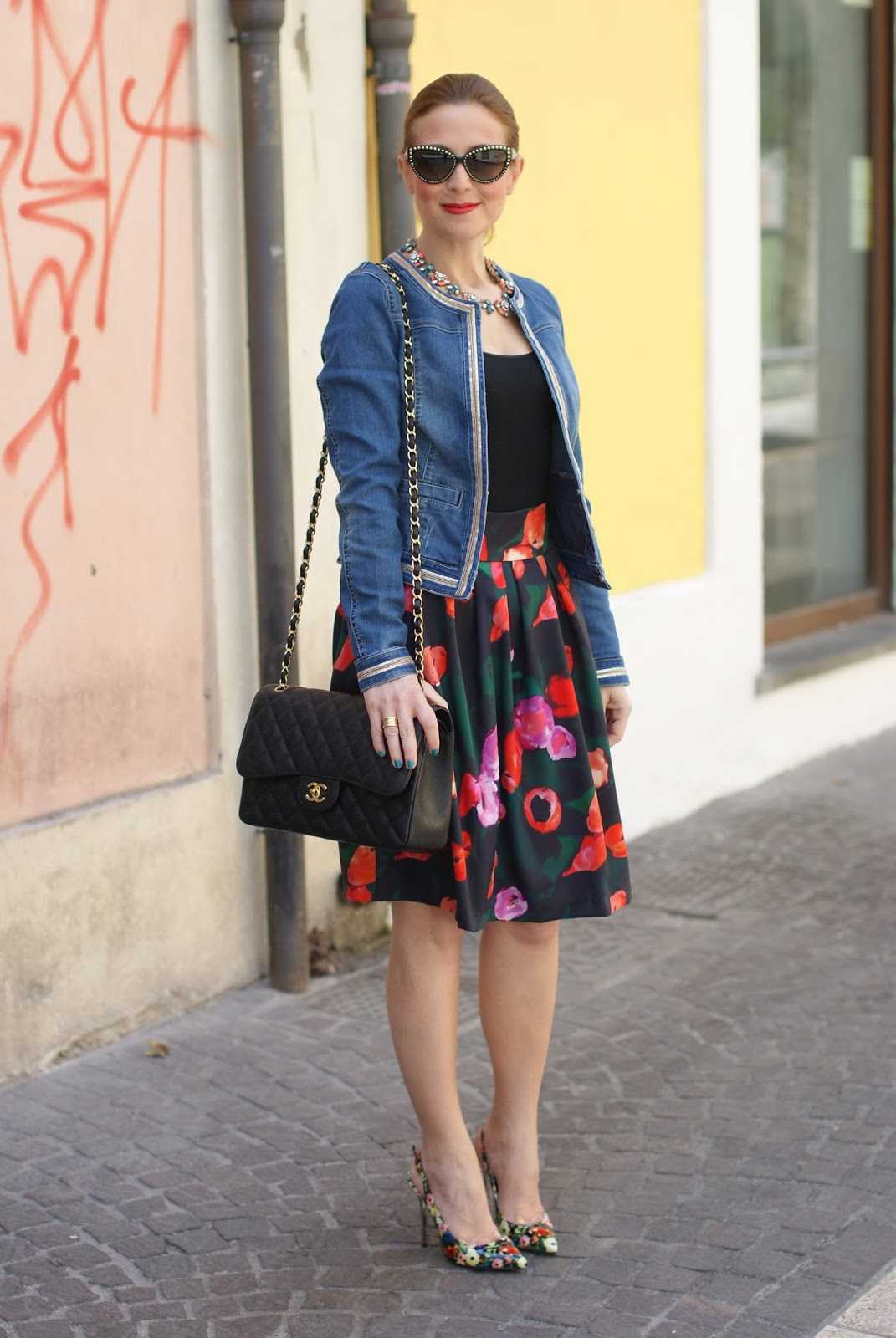 Wolford body worn with skirt and denim jacket, Happiness Boutique necklace and Walktrendy skirt on Fashion and Cookies fashion blog, fashion blogger style