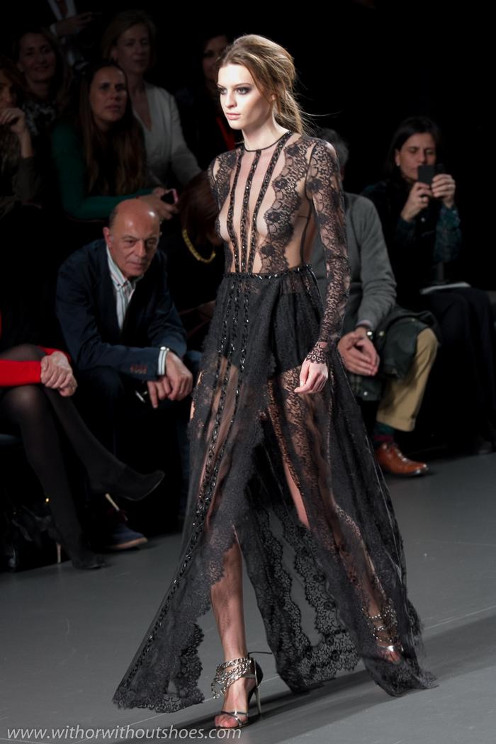 Vestido maxi largo encaje transparente negro