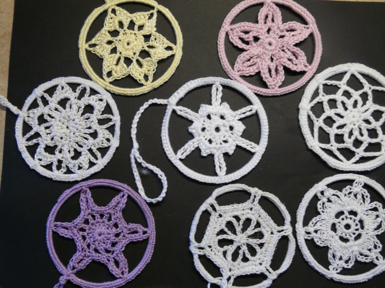 String Theory Crochet Snowflakes Mobiles And An Elf Snowflakescrochetpatterndiagram I Have Used The Patterns In Book Then Crocheted Around Bangle Catching Points Of Snowlakes At Regular Intervals