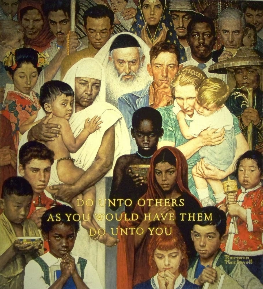 Image: Golden Rule by Norman Rockwell 1961.