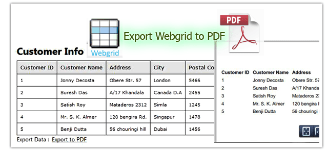 webgrid data to excel and pdf in webmatrix