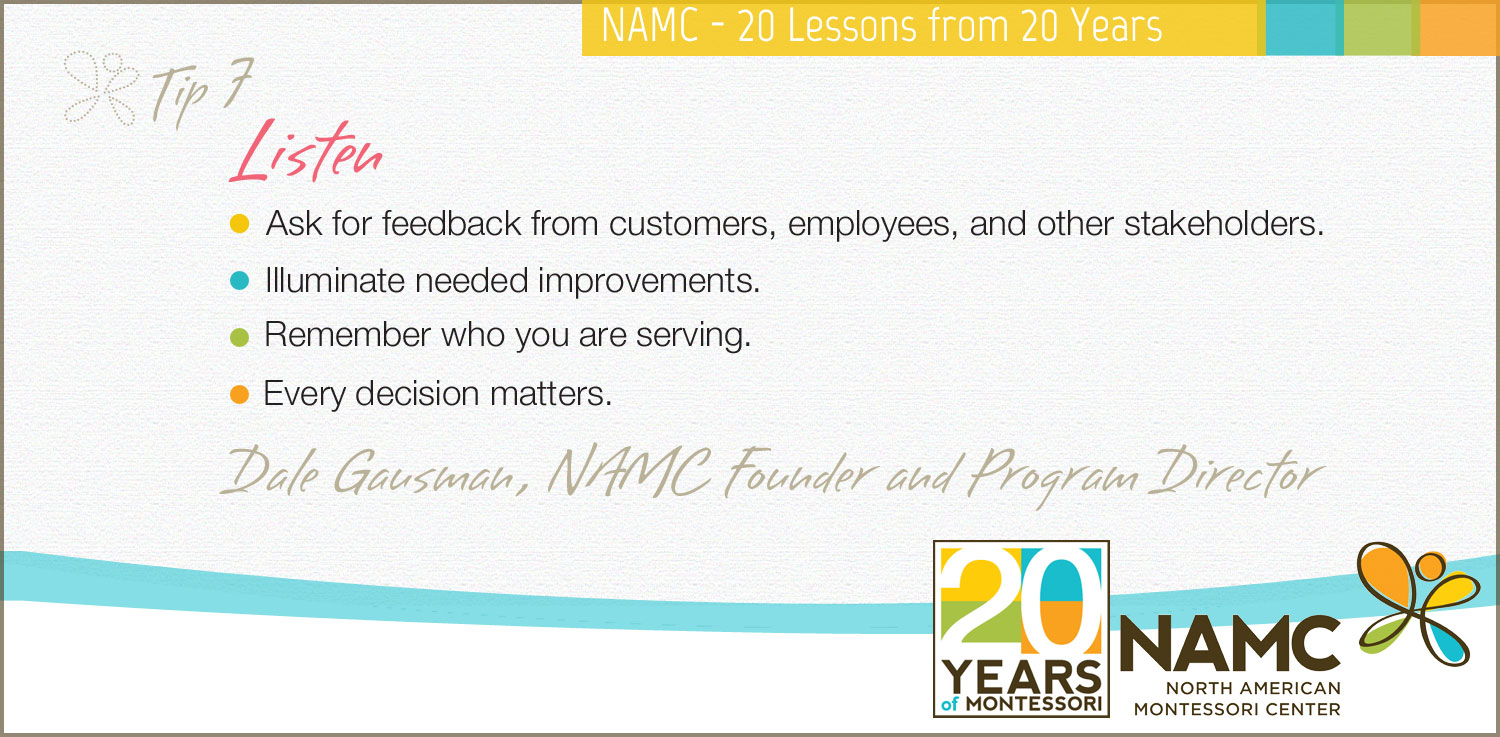 NAMC montessori 20 lessons 20 years listen