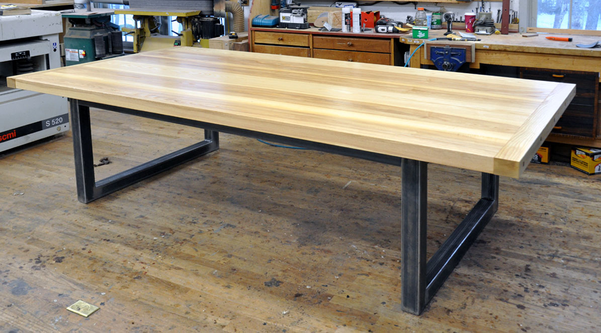 Dorset Custom Furniture   A Woodworkers Photo Journal: What Kind Of Steel  Base Can I Have On My Slab Top Table?
