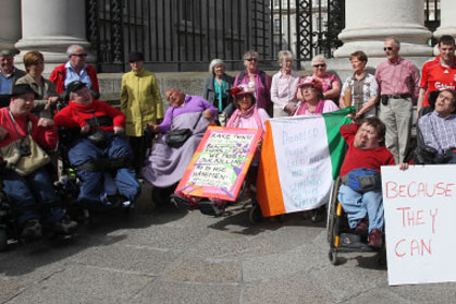 Group of disabled Irish people protest proposed government cuts