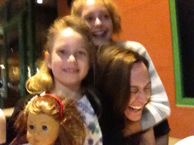 I know this picture is fuzzy, but I remember laughing so hard because my girls wouldn't stop tickling me every time they snapped the picture.