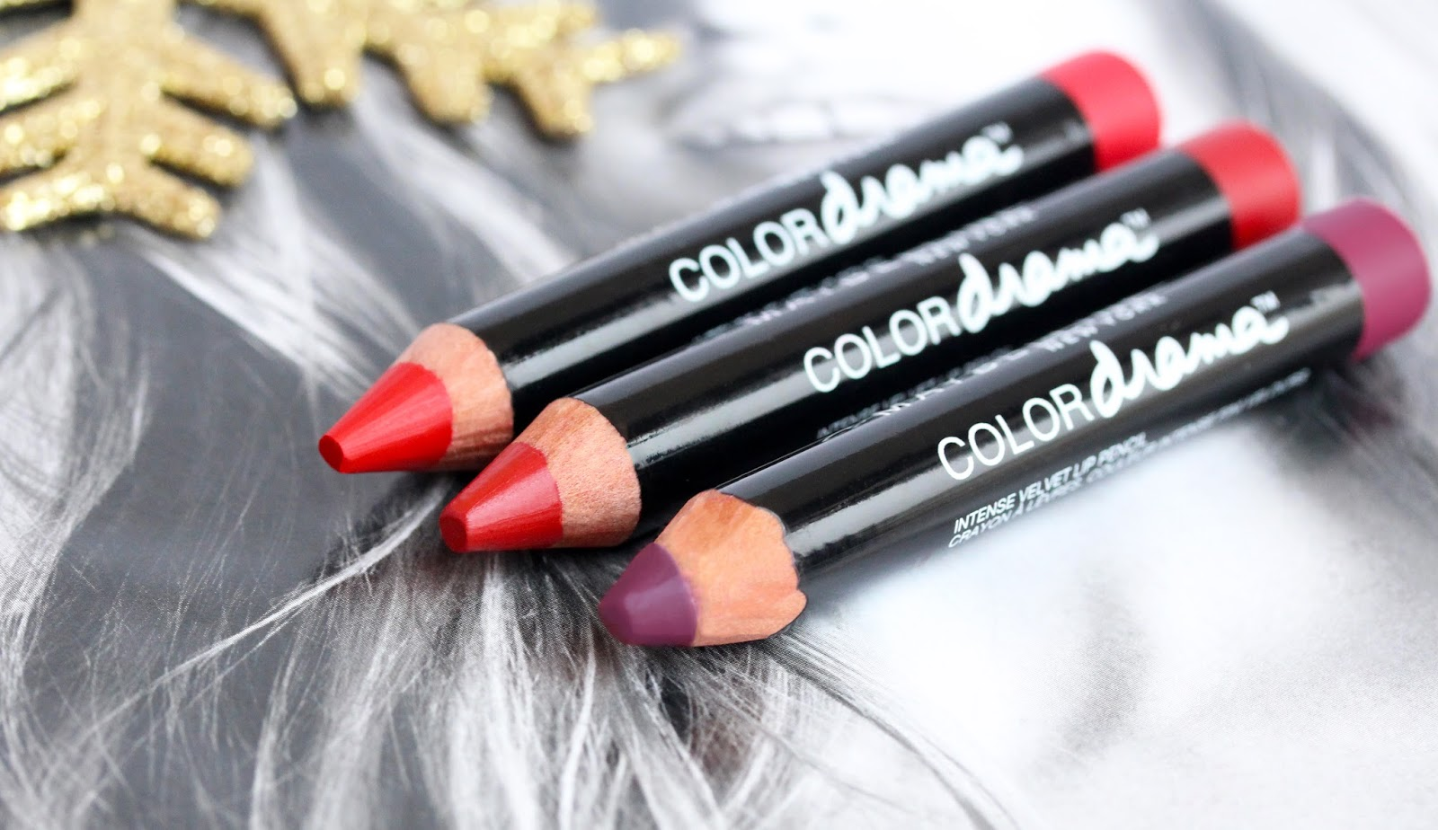 Maybelline Color Drama Velvet Lip Pencils in Berry Much, Light It Up and Red Essentials